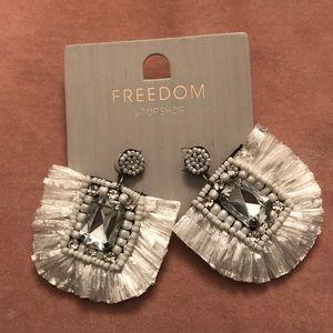 NWT Topshop White raffia and crystal earrings